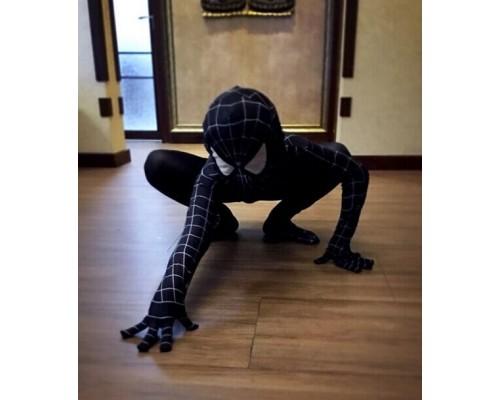 Детский облегающий черный костюм Человека-Паука (Венома)
