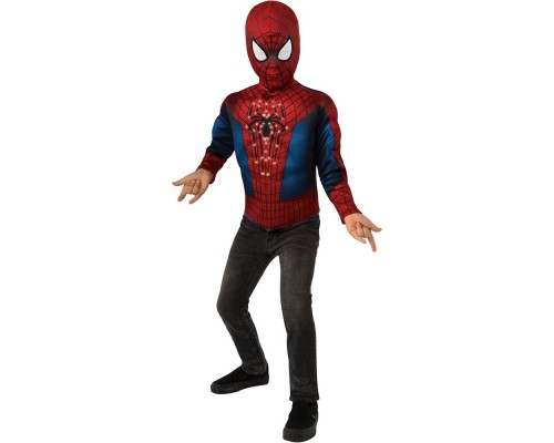Маска и светящаяся верхняя часть костюма Человека-Паука с мускулами, 7-10 лет