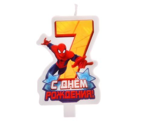 """Свеча в торт """"С днем рождения. Человек-Паук"""", цифра 7"""