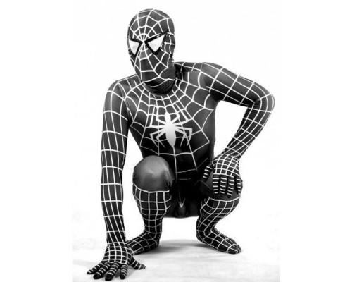 Взрослый черный костюм Человека-Паука из спандекса