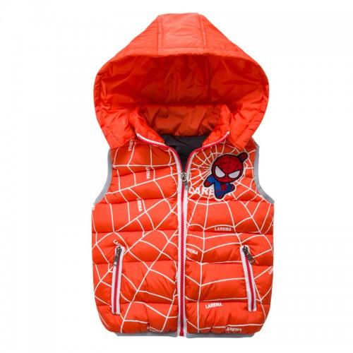 Теплая жилетка с капюшоном, оранжевая