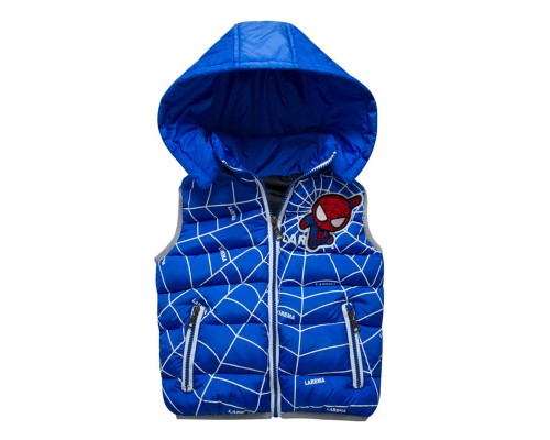 Теплая жилетка с капюшоном, синяя